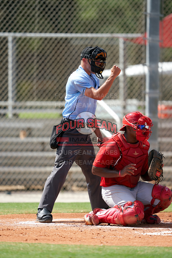 Umpire Kaleb Martin calls a strike behind catcher Cristhian Longa during a Gulf Coast League game between the GCL Astros and GCL Cardinals on August 11, 2019 at Roger Dean Stadium Complex in Jupiter, Florida.  GCL Cardinals defeated the GCL Astros 2-1.  (Mike Janes/Four Seam Images)
