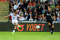George Byers of Swansea City scores his side's second goal during the Carabao Cup First Round match between Swansea City and Northampton Town at the Liberty Stadium in Swansea, Wales, UK. Tuesday 13 August 2019