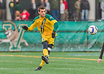 15 November 2015: University of Vermont Catamount Midfielder Charlie DeFeo, a Senior from Newfields, NH, in action against the Binghamton University Bearcats at Virtue Field in Burlington, Vermont. The Catamounts shut out the Bearcats 1-0 in the America East Championship Game. Mandatory Credit: Ed Wolfstein Photo *** RAW (NEF) Image File Available ***