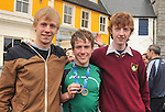 Con Doherty with classmates from Rice College David Harper and Robert Lee...Pic Conor McKeown