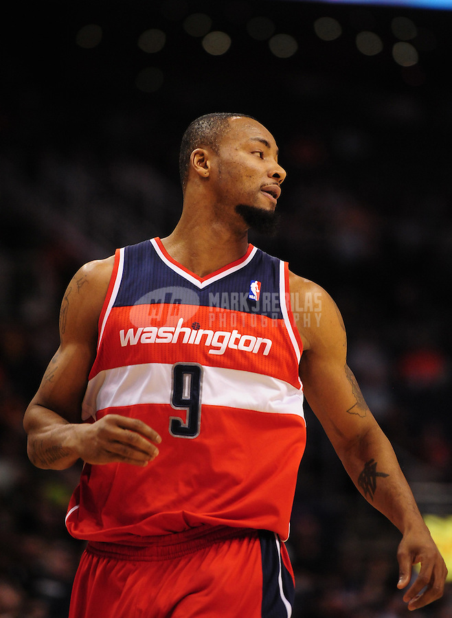 Feb. 20, 2012; Phoenix, AZ, USA; Washington Wizards forward Rashard Lewis during game against the Phoenix Suns at the US Airways Center. The Suns defeated the Wizards 104-88. Mandatory Credit: Mark J. Rebilas-.