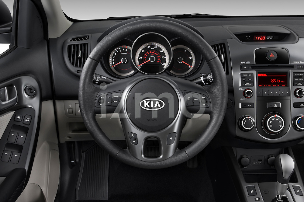Steering wheel view of a 2010 Kia Forte EX
