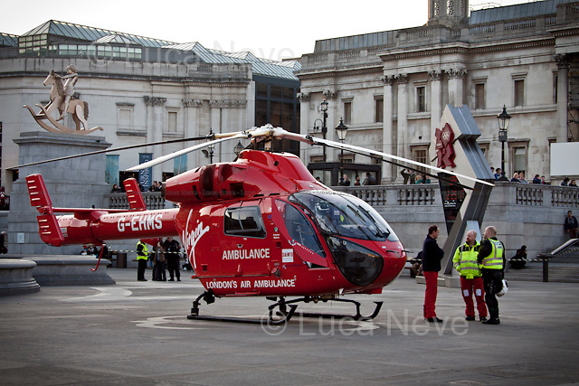 London, 21/03/2012. London's Virgin Air Ambulance landed today In Trafalgar Square. It was called after an incident occurred at the nearby tube station of Leicester Square where a passenger has been hit by a train.