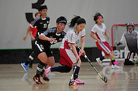 Japan&rsquo;s Yuki Takahashi and Thailand&rsquo;s Thanaporn Tongkham in action during the World Floorball Championships 2017 Qualification for Asia Oceania Region - Japan v Thailand at ASB Sports Centre , Wellington, New Zealand on Saturday 4 February 2017.<br /> Photo by Masanori Udagawa<br /> www.photowellington.photoshelter.com.