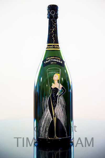 Champagne Taittinger Brut, L'instant Millenaire created to celebrate the Millennium, on display at Taittinger in Reims, France