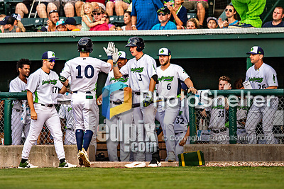 21 July 2019: Vermont Lake Monsters outfielder Marty Bechina (10) returns to the dugout after hitting a 2-run go-ahead home-run in the 4th inning against the Tri-City ValleyCats at Centennial Field in Burlington, Vermont. The Lake Monsters rallied to defeat the ValleyCats 6-3 in NY Penn League play. Mandatory Credit: Ed Wolfstein Photo *** RAW (NEF) Image File Available ***