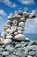 Rock Cairns dotting the trail<br /> Ram Head Trail<br /> past Salt Pond Bay<br /> St. John<br /> U.S. Virgin Islands