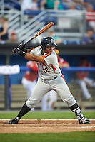 Aberdeen Ironbirds first baseman Ronarsy Ledesma (12) at bat during a game against the Batavia Muckdogs on July 14, 2016 at Dwyer Stadium in Batavia, New York.  Aberdeen defeated Batavia 8-2. (Mike Janes/Four Seam Images)