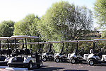 Yamaha golf carts lined up in the morning in the parking lot ready for golfers to take to the course in Branson Missouri