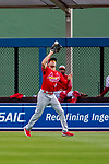 26 February 2019: St. Louis Cardinals outfielder Dylan Carlson pulls in a fly ball to right during a Spring Training game against the Washington Nationals at the Ballpark of the Palm Beaches in West Palm Beach, Florida. The Cardinals defeated the Nationals 6-1 in Grapefruit League play. Mandatory Credit: Ed Wolfstein Photo *** RAW (NEF) Image File Available ***