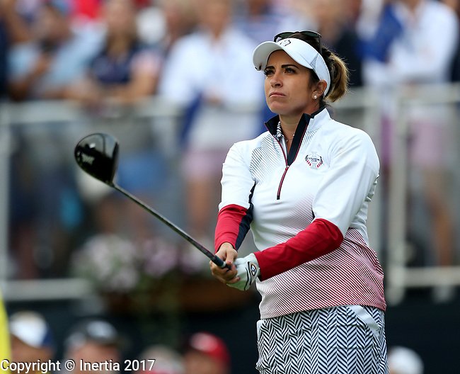 DES MOINES, IA - AUGUST 19: USA's Gerina Piller tees off on the first hole during Saturday morning's foursomes match at the 2017 Solheim Cup in Des Moines, IA. (Photo by Dave Eggen/Inertia)
