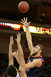 March 8, 2014; Las Vegas, NV, USA; Pepperdine Waves forward Brendan Lane (21) shoots against the St. Mary's Gaels during the second half of the WCC Basketball Championships at Orleans Arena.