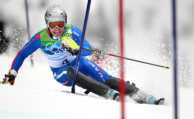 France's Julien Lizeroux competes in the men's slalom at the XXI Olympic Winter Games Saturday, February 27, 2010 in Whistler, British Columbia.