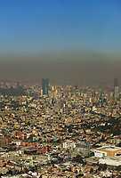 A layer of smog hangs over Mexico City