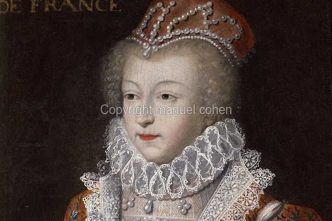 Portrait of Marguerite de France, Queen of Navarre, known as La Reine Margot, 1553-1615,<br /> detail, oil painting on canvas, after Francois Clouet, 1515-1572, in the Garde-robe de la Reine, or Queen's Dressing Room, in the Francois I wing, built early 16th century in Italian Renaissance style and restored by Felix Duban 1861-66, at the Chateau Royal de Blois, built 13th - 17th century in Blois in the Loire Valley, Loir-et-Cher, Centre, France. The chateau has 564 rooms and 75 staircases and is listed as a historic monument and UNESCO World Heritage Site. Picture by Manuel Cohen