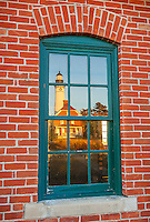 Pictured Rocks National Lakeshore, MI: Au Sable Light Station (1874) reflected in the oil house window