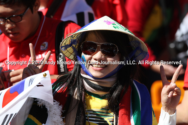 17 JUN 2010: South Korea fan. The Argentina National Team defeated the South Korea National Team 4-1 at Soccer City Stadium in Johannesburg, South Africa in a 2010 FIFA World Cup Group E match.