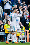 Cristiano Ronaldo of Real Madrid celebrates with teammates during the La Liga 2017-18 match between Real Madrid and Deportivo Alaves at Santiago Bernabeu Stadium on February 24 2018 in Madrid, Spain. Photo by Diego Souto / Power Sport Images