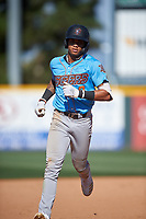 Inland Empire 66ers Jordyn Adams (9) rounds the bases after hitting his first California League home run during a game against the Rancho Cucamonga Quakes at LoanMart Field on September 2, 2019 in Rancho Cucamonga, California. Rancho Cucamonga defeated Inland Empire 4-3. (Zachary Lucy/Four Seam Images)