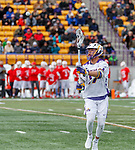 University at Albany Men's Lacrosse defeats Cornell 11-9 on Mar 4 at Casey Stadium.  Jakob Patterson (#17).