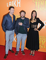 "07 April 2019 - New York, New York - Hugh Jackman, Zach Galifianakis and Zoe Saldana at the New York Premiere of ""MISSING LINK"", held at Regal Cinemas Battery Park II.<br /> CAP/ADM/LJ<br /> ©LJ/ADM/Capital Pictures"