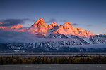 The Teton range at sunrise on a cold fall morning.