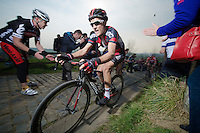 Danilo Wyss (CHE/BMC) up the Paterberg (max 20%)<br /> <br /> 57th E3 Harelbeke 2014