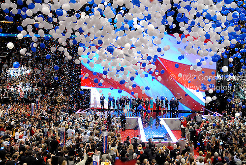 St. Paul, MN - September 4, 2008 -- Celebration after United States Senator John McCain (Republican of Arizona) accepted his party's nomination as President of the United States on day 4 of the 2008 Republican National Convention at the Xcel Energy Center in St. Paul, Minnesota on Thursday, September 4, 2008..Credit: Ron Sachs / CNP.(RESTRICTION: NO New York or New Jersey Newspapers or newspapers within a 75 mile radius of New York City)