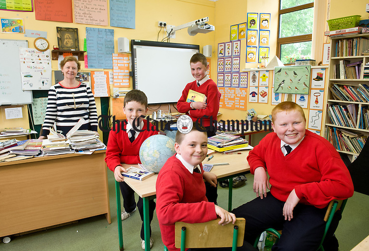 The last pupils to attend Scropul NS before its closure this year; David Montgomery, Dean Downes, Damien Lynch, and Thomas Pilkington with principal Patricia Rynne. Photograph by John Kelly.