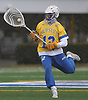 Jack Concannon #12, Hofstra University goalie, charges upfield during the third quarter of an NCAA men's lacrosse game against Monmouth at Shuart Stadium in Hempstead, NY on Wednesday, March 14, 2018. Hofstra won by a score of 7-6.