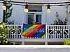 Thank you NHS rainbow sign on house during Coronavirus lockdown, Reading UK May 2020