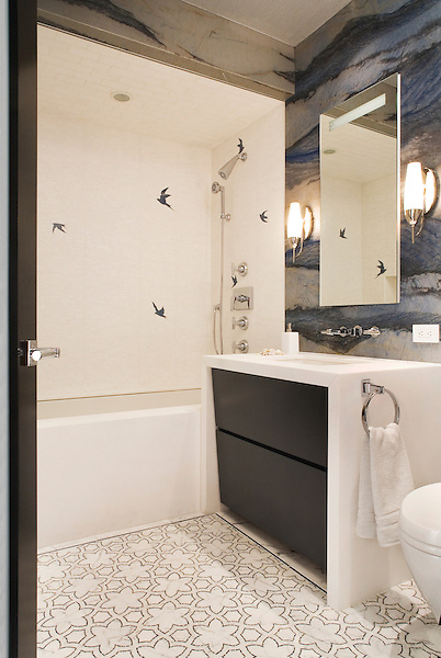This custom bathroom features Reina and Flight from New Ravenna. Reina, from the Miraflores Collection by Paul Schatz is shown in polished Blue Macauba and honed Statuary Carrara. Flight is shown in Thassos and Blue Macauba.  <br />