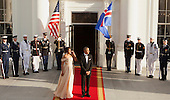 United States President Barack Obama and First Lady Michelle Obama await the arrival of guests at the State Dinner while participating in the U.S.- Nordic Leaders Summit at The White House in Washington, DC, May 13, 2016.<br /> Credit: Chris Kleponis / CNP