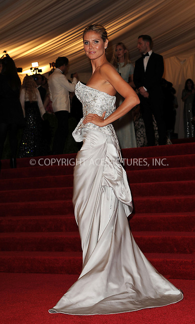 WWW.ACEPIXS.COM....May 6 2013, New York City....Heidi Klum arriving at the Costume Institute Gala for the 'PUNK: Chaos to Couture' exhibition at the Metropolitan Museum of Art on May 6, 2013 in New York City.....By Line: Kristin Callahan/ACE Pictures......ACE Pictures, Inc...tel: 646 769 0430..Email: info@acepixs.com..www.acepixs.com