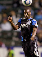 San Jose Earthquakes defender Ike Opara (6) heads a ball. CD Chivas USA defeated the San Jose Earthquakes 3-2 at Home Depot Center stadium in Carson, California on Saturday April 24, 2010.  .