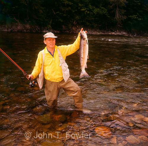Fly fishing for Atlantic salmon, Matane River, Quebec, Canada<br />