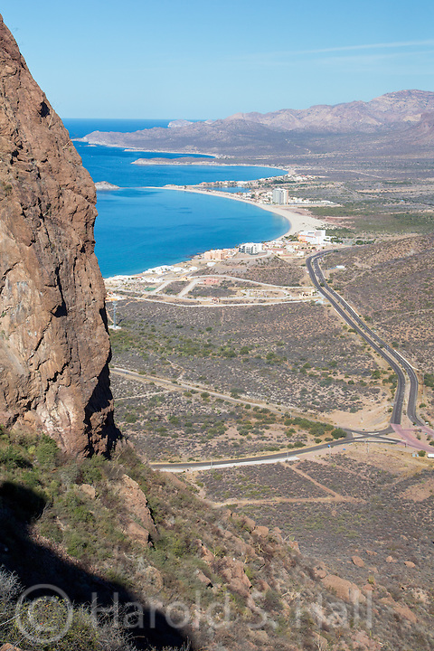 A climb to the top of Mount Tetakawi, the most prominent landmark in San Carlos, Mexico,   reveals vistas of the sea of Cortez below.  There are no switchbacks on the hike t the top as there would be in the states, it is mostly straight up the hillside, walking on scree.
