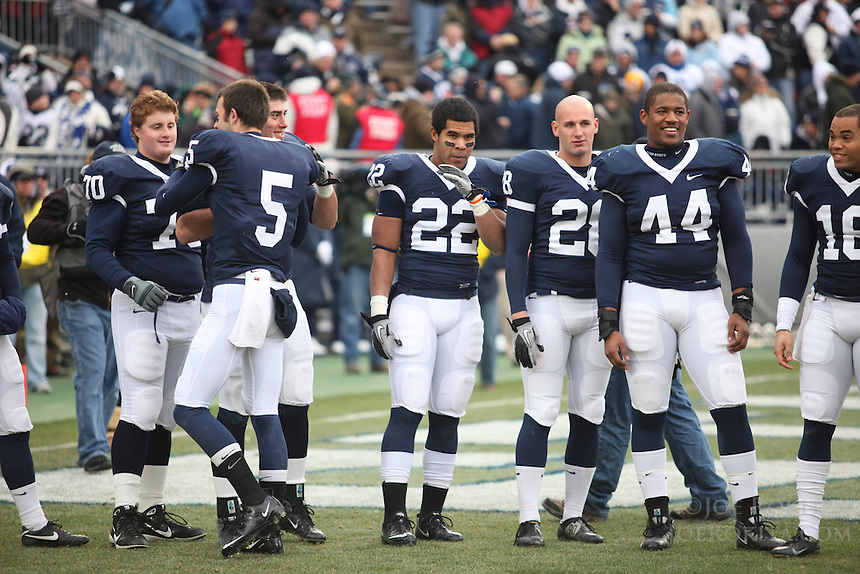 State College, PA - 11/27/2010:  Nittany Lion senior football players gather for Senior Day recognition before the game.  Penn State lost to Michigan State by a score of 28-22 on Senior Day at Beaver Stadium...Photo:  Joe Rokita / JoeRokita.com..Photo ©2010 Joe Rokita Photography