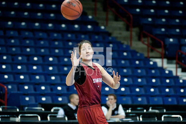 SPOKANE, WA - MARCH 25, 2011: Sarah Boothe at the Stanford Women's Basketball, NCAA West Regionals practice at Spokane Arena on March 25, 2011.