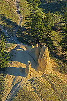 Hoodoos at western edge of Kootenay National Park, , British Columbia, Canada