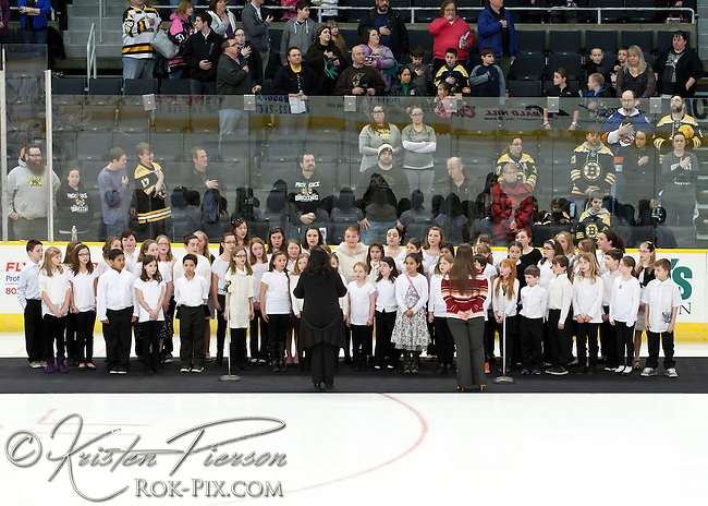 Coventry Elementary Schools sing The Star Spangled Banner and God Bless America at the Providence Bruins game on March 22, 2013