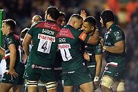 Telusa Veainu of Leicester Tigers celebrates his second try with team-mate Ellis Genge. European Rugby Champions Cup match, between Leicester Tigers and Castres Olympique on October 21, 2017 at Welford Road in Leicester, England. Photo by: Patrick Khachfe / JMP