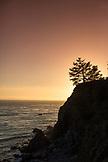 USA, California, Big Sur, Esalen, cliff landscape taken from the Baths at sunset, the Esalen Institute