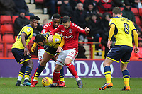 Alex Mowatt of Oxford United and Charlton's Jake Forster-Caskey in a midfield tussle during Charlton Athletic vs Oxford United, Sky Bet EFL League 1 Football at The Valley on 3rd February 2018