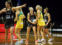 12.10.2016 Silver Ferns Katrina Grant and Australia's Gretel Tippett in action during the Silver Ferns v Australia netball test match played at the Silver Dome in Launceston in Australia.. Mandatory Photo Credit ©Michael Bradley.