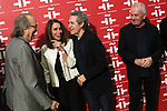 Joan Manuel Serrat (l), Ana Belen, Miguel Rios and Victor Manuel attend Les Luthiers tribute at The Cervantes Institute on October 10, 2019 in Madrid, Spain.(ALTERPHOTOS/ItahisaHernandez)