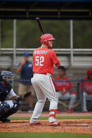 GCL Phillies West Rixon Wingrove (52) bats during a Gulf Coast League game against the GCL Yankees East on July 26, 2019 at the New York Yankees Minor League Complex in Tampa, Florida.  (Mike Janes/Four Seam Images)