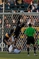 Goalie Josh Saunders deflects a shot on goal during the second half of a friendly between LA Galaxy and Boca Juniors. The game was held at the Home Depot Center in Carson, CA on May 23, 2010. The final score was LA Galaxy 1, Boca Juniors 0.