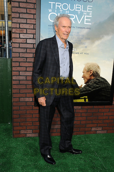 """Clint Eastwood.""""Trouble With The Curve"""" Los Angeles Premiere held at the Regency Village Theatre, Westwood, California, USA..September 19th, 2012.full length suit check black shirt blue  .CAP/ADM/BP.©Byron Purvis/AdMedia/Capital Pictures."""