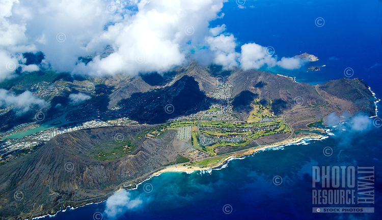 Aerial of eastern tip of Oahu Island, Hawaii including Koko Head crater and Sandy Beach